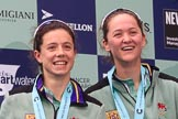 The Cancer Research UK Women's Boat Race 2018: Cambridge 2 seat Imogen Grant and bow Tricia Smith on the podium. River Thames between Putney Bridge and Mortlake, London SW15,  United Kingdom, on 24 March 2018 at 17:06, image #256