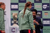 The Cancer Research UK Women's Boat Race 2018: Sir Harpal Kumar, CEO of Cancer Research UK. congratulating Cambridge 3 seat Kelsey Barolak at the trophy presentation. River Thames between Putney Bridge and Mortlake, London SW15,  United Kingdom, on 24 March 2018 at 17:06, image #257