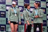 The Cancer Research UK Women's Boat Race 2018: Cambridge 3 seat Kelsey Barolak , 2 Imogen Grant, and bow Tricia Smith on the podium. River Thames between Putney Bridge and Mortlake, London SW15,  United Kingdom, on 24 March 2018 at 17:06, image #258