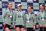 The Cancer Research UK Women's Boat Race 2018: Cambridge 4 seat Thea Zabell, 3 Kelsey Barolak , 2 Imogen Grant, and bow Tricia Smith on the podium. River Thames between Putney Bridge and Mortlake, London SW15,  United Kingdom, on 24 March 2018 at 17:07, image #259