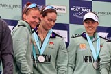 The Cancer Research UK Women's Boat Race 2018: cambridge 5 seat Paula Wesselmann, 4 Thea Zabell, and 3 Kelsey Barolak on the podium, with their Boat Race medals. River Thames between Putney Bridge and Mortlake, London SW15,  United Kingdom, on 24 March 2018 at 17:07, image #261