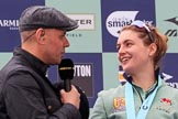 The Cancer Research UK Women's Boat Race 2018: BBC Sport presenter Jason Mohammad interviewing Cambridge 7 seat Myriam Goudet-Boukhatmi. River Thames between Putney Bridge and Mortlake, London SW15,  United Kingdom, on 24 March 2018 at 17:07, image #267
