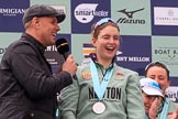 The Cancer Research UK Women's Boat Race 2018: BBC Sport presenter Jason Mohammad interviewing Cambridge 7 seat Myriam Goudet-Boukhatmi. River Thames between Putney Bridge and Mortlake, London SW15,  United Kingdom, on 24 March 2018 at 17:08, image #272