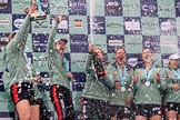 The Cancer Research UK Women's Boat Race 2018: Cambridge celebrations, with lots of champagne (actually Chapel Down Brut) on the podium, after winning the Women's Boat Race. River Thames between Putney Bridge and Mortlake, London SW15,  United Kingdom, on 24 March 2018 at 17:09, image #278