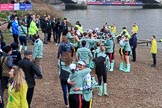 The Cancer Research UK Women's Boat Race 2018: The Cambridge women celebrating after both the Blue Boat and the reserve boat, Blondie, have beaten the Oxford boats. River Thames between Putney Bridge and Mortlake, London SW15,  United Kingdom, on 24 March 2018 at 17:11, image #308