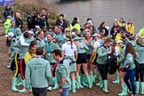 The Cancer Research UK Women's Boat Race 2018: The Cambridge women celebrating after both the Blue Boat and the reserve boat, Blondie, have beaten the Oxford boats. River Thames between Putney Bridge and Mortlake, London SW15,  United Kingdom, on 24 March 2018 at 17:12, image #310