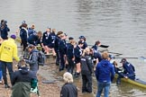 The Cancer Research UK Women's Boat Race 2018: The Oxford reserve boat, also beaten by Cambridge, arrives at Mortlake Boat Club - bow Matlida Edwards, 2 Laura Depner, 3 Madeline Goss, 4 Rachel Anderson, 5 Sarah Payne Riches, 6 Sanja Brolih, 7 Olivia Pryer, stroke Anna Murgatroyd, cox Eleanor Shearer. River Thames between Putney Bridge and Mortlake, London SW15,  United Kingdom, on 24 March 2018 at 17:12, image #312