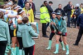 The Cancer Research UK Women's Boat Race 2018: More celebrations and more champagne for the Cambridge women. River Thames between Putney Bridge and Mortlake, London SW15,  United Kingdom, on 24 March 2018 at 17:13, image #314