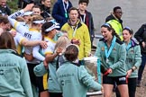 The Cancer Research UK Women's Boat Race 2018: More celebrations and more champagne for the Cambridge women. River Thames between Putney Bridge and Mortlake, London SW15,  United Kingdom, on 24 March 2018 at 17:13, image #315