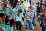 The Cancer Research UK Women's Boat Race 2018: CUWBC club coordinator James Lee woth the Women's Boat Race trophy. River Thames between Putney Bridge and Mortlake, London SW15,  United Kingdom, on 24 March 2018 at 17:14, image #316