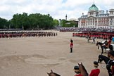Trooping the Colour 2009: The March Past is about to end - the foot guards divisions are marching on the right hand side, on the left, in the centre of Horse Guards Parade, the Massed Bands, behind them on the left the Life Guards and Blues and Royals, on the right the Mounted Bands.. Horse Guards Parade, Westminster, London SW1,  United Kingdom, on 13 June 2009 at 11:50, image #224