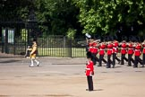 Trooping the Colour 2009: Drum Major M Godsman, Scots Guards, leading the Band of the Scots Guards along St. James's Park towards the parade ground.. Horse Guards Parade, Westminster, London SW1,  United Kingdom, on 13 June 2009 at 10:24, image #41