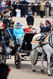 Trooping the Colour 2009: The ivory mounted phaeton with HM The Queen and HRH The Duke of Edinburgh on horse guards parade.. Horse Guards Parade, Westminster, London SW1,  United Kingdom, on 13 June 2009 at 10:58, image #123