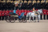 Trooping the Colour 2009: The Inspection of the Line, HM The Queen is driven along the line of guardsmen in the ivory mounted phaeton.. Horse Guards Parade, Westminster, London SW1,  United Kingdom, on 13 June 2009 at 11:02, image #144