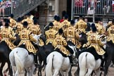 Trooping the Colour 2009: The Mounted Bands of the Household Cavalry marching off.. Horse Guards Parade, Westminster, London SW1,  United Kingdom, on 13 June 2009 at 12:02, image #245