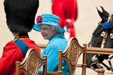 Trooping the Colour 2009: Close-up of HM The Queen and HRH Prince Philip, The Duke of Edinburg, on the saluting base, as the parade is about to come to an end.. Horse Guards Parade, Westminster, London SW1,  United Kingdom, on 13 June 2009 at 12:09, image #253