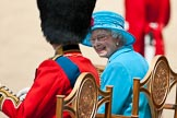 Trooping the Colour 2009: Close-up of HM The Queen and HRH Prince Philip, The Duke of Edinburg, on the saluting base, as the parade is about to come to an end.. Horse Guards Parade, Westminster, London SW1,  United Kingdom, on 13 June 2009 at 12:10, image #254