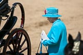 Trooping the Colour 2009: After the parade - HM The Queen on the way to the ivory mounted phaeton, for the journey back to Buckingham Palace via The Mall.. Horse Guards Parade, Westminster, London SW1,  United Kingdom, on 13 June 2009 at 12:10, image #255
