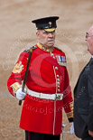 Trooping the Colour 2009: WO1 (GSM) W D G 'Billy' Mott OBE, Welsh Guards, talking to a visitor. Image #14, 13 June 2009 09:44 Horse Guards Parade, London, UK
