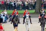 "Trooping the Colour 2010: Three Royal Colonels following Her Majesty during the ""inspection of the line"".  To the left, Charles, The Prince of Wales, Colonel of the Welsh Guards, in the middle Prince Edward, Duke of Kent, Colonel of the Scots Guards, and, on the right, Anne, The Princess Royal, Colonel of the Blues and Royals.  In the background spectators watching from St. James's Park at the western side of the parade ground, and in the foreground on of the Drum Majors.. Horse Guards Parade, Westminster, London SW1, Greater London, United Kingdom, on 12 June 2010 at 11:06, image #92"