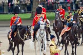 Trooping the Colour 2010: The Royal Colonels inpecting the line. From the left Charles, Prince of Wales, then Prince Edward, Duke of Kent, and Anne, The Princess Royal.  Behind them the Royal Equerries, from the left Lt Col A C Ford, then Lt Col A F Matheson of Matheson, yr , and on the right Major S R Robinson.  In the background spectators watching from St. James's Park, on the western side of the parade ground, in the front, out of focus, two of the five Drum Majors.. Horse Guards Parade, Westminster, London SW1, Greater London, United Kingdom, on 12 June 2010 at 11:06, image #94