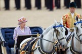 Trooping the Colour 2010: Her Majesty The Queen, sitting in her Ivory Mounted Phaeton driven by the Head Coachman, Jack Hargreaves, inspecting the line of soldiers on the parade ground.. Horse Guards Parade, Westminster, London SW1, Greater London, United Kingdom, on 12 June 2010 at 11:06, image #96