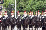 Trooping the Colour 2010: The First and Second Division of the Sovereign's Escort, Blues and Royals of the Household Cavalry, in front of St. James's Park, on the western side of the parade ground.. Horse Guards Parade, Westminster, London SW1, Greater London, United Kingdom, on 12 June 2010 at 11:34, image #136