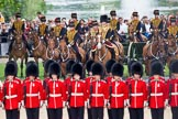 Trooping the Colour 2010: Behind No. 1 Guard,  1st Battalion Grenadier Guards, and in front of spectators watching from St. James's Park, with a lake and fountain in the background, is The King's Troop Royal Horse Artillery, with their horses and 13-pounder state saluting guns.. Horse Guards Parade, Westminster, London SW1, Greater London, United Kingdom, on 12 June 2010 at 11:51, image #160