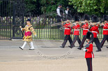 Trooping the Colour 2010: Drum Major of the Grenadier Guards leading the Band of the Scots Guards onto Horse Guards Parade.  In the background St. James's Park. Image #12, 12 June 2010 10:27 Horse Guards Parade, London, UK