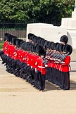 The Colonel's Review 2011: No. 3 Guard, F Company Scots Guards, taking up their place on the parade ground. In the background the Guards Memorial, in front Company Sergeant Major N D Lawrie.. Horse Guards Parade, Westminster, London SW1,  United Kingdom, on 04 June 2011 at 10:35, image #50