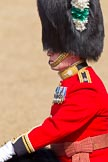 The Colonel's Review 2011: Close-up of the Major of the Parade, Major Benedict Peter Norman Ramsay, Welsh Guards. He was awarded a CBE on the day of the parade during The Queen's Birthday Honour.. Horse Guards Parade, Westminster, London SW1,  United Kingdom, on 04 June 2011 at 10:36, image #51