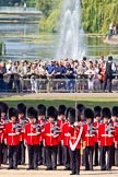 The Colonel's Review 2011: No. 1 Guard, 1st Battalion Scots Guards, the Escort for the Colour. In front, with the white colour belt, Lieutenant Tom Ogilvy, the Ensign that will troop the Colour through the ranks. In the background spectators watching from St. James's Park.. Horse Guards Parade, Westminster, London SW1,  United Kingdom, on 04 June 2011 at 10:42, image #57