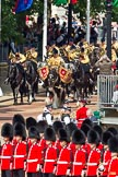 The Colonel's Review 2011: The Mounted Bands of the Household Cavalry arriving at Horse Guards Parade, lead by the kettle drums.. Horse Guards Parade, Westminster, London SW1,  United Kingdom, on 04 June 2011 at 10:55, image #68