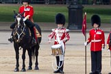 The Colonel's Review 2011: From left to right: Major B P N Ramsay, Welsh Guards, The Major of the Parade, then the 'Lone Drummer', Lance Corporal Gordon Prescott, Scots Guards, and the 'Keeper of the Ground' of No. 1 Guard, 1st Battalion Scots Guards.. Horse Guards Parade, Westminster, London SW1,  United Kingdom, on 04 June 2011 at 11:14, image #118