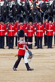The Colonel's Review 2011: The 'Lone Drummer', Lance Corporal Gordon Prescott, Scots Guards, marching past the line of guards, to play the 'Drummers Call' that will start the next phase of the parade.. Horse Guards Parade, Westminster, London SW1,  United Kingdom, on 04 June 2011 at 11:15, image #120