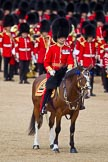 The Colonel's Review 2011: The Field Officer, Lieutenant Colonel Lincoln P M Jopp, riding 'Burniston', whilst the Ensign has collected the Colour.. Horse Guards Parade, Westminster, London SW1,  United Kingdom, on 04 June 2011 at 11:20, image #136