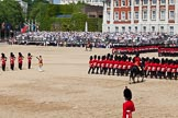 The Colonel's Review 2011: The Massed Bands in the Centre of Horse Guards Parade, during the March Past, with the six divisions of foot guards marching on the right hand side of the photo.. Horse Guards Parade, Westminster, London SW1,  United Kingdom, on 04 June 2011 at 11:38, image #184