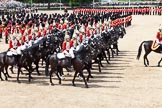 The Colonel's Review 2011: Household Cavalry, here The Life Guards, during the March Past. Behind them, in the centre of Horse Guards Parade, the Massed Bands.. Horse Guards Parade, Westminster, London SW1,  United Kingdom, on 04 June 2011 at 11:54, image #239