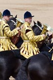 The Colonel's Review 2011: Two trombonists of the Mounted Bands of the Household Cavalry during the March Past.. Horse Guards Parade, Westminster, London SW1,  United Kingdom, on 04 June 2011 at 11:58, image #263