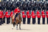 The Colonel's Review 2011: The Field Officer, Lieutenant Colonel L P M Jopp, riding 'Burniston', here in front of No. 2 Guard, B Company Scots Guards, commanding the last phase of the rehearsal.. Horse Guards Parade, Westminster, London SW1,  United Kingdom, on 04 June 2011 at 12:00, image #269