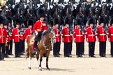 The Colonel's Review 2011: The Field Officer, Lieutenant Colonel L P M Jopp, riding 'Burniston', here in front of No. 2 Guard, B Company Scots Guards, commanding the last phase of the rehearsal.. Horse Guards Parade, Westminster, London SW1,  United Kingdom, on 04 June 2011 at 12:00, image #272