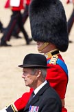 The Colonel's Review 2011: Marching Off - close-up of the Queen's Stud Groom, riding in place of the Prince of Wales at this Colonel's Review, and HRH Prince William, The Duke of Cambridge.. Horse Guards Parade, Westminster, London SW1,  United Kingdom, on 04 June 2011 at 12:07, image #289