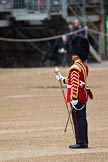 The Major General's Review 2011: The Senior Drum Major Household Division, Drum Major Ben Roberts, Coldstream Guards has turned about to face the Band he has led from Wellington Barracks to Horse Guards Parade to dress the Band and stand them at ease.. Horse Guards Parade, Westminster, London SW1, Greater London, United Kingdom, on 28 May 2011 at 10:15, image #19