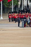 The Major General's Review 2011: Drum Major Tony Taylor, No. 7 Company Coldstream Guards, leading the Band of the Irish Guards, marching down Horse Guards Road towards the parade ground.. Horse Guards Parade, Westminster, London SW1, Greater London, United Kingdom, on 28 May 2011 at 10:16, image #20