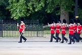 The Major General's Review 2011: Drum Major Tony Taylor, No. 7 Company Coldstream Guards, leading the Band of the Irish Guards, marching next to St. James's Park on the way to the parade ground.. Horse Guards Parade, Westminster, London SW1, Greater London, United Kingdom, on 28 May 2011 at 10:16, image #21
