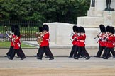 The Major General's Review 2011: Musicians of the Band of the Irish Guards passing the Guards Memorial on their way to the parade ground.. Horse Guards Parade, Westminster, London SW1, Greater London, United Kingdom, on 28 May 2011 at 10:17, image #22