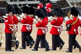 The Major General's Review 2011: Musicians of the Band of the Irish Guards arriving at Horse Guards Parade, passing musicians of the Band of the Welsh Guards that are already at their desigated location.. Horse Guards Parade, Westminster, London SW1, Greater London, United Kingdom, on 28 May 2011 at 10:18, image #26