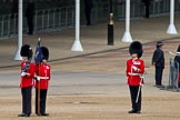 The Major General's Review 2011: The Garrison Sergeant Major, WO1 William Mott OBE, Welsh Guards, takes up a position in the corner of the Parade ground to see whether the flankmen of each Guard formation stands precisely on the spot where he should be.. Horse Guards Parade, Westminster, London SW1, Greater London, United Kingdom, on 28 May 2011 at 10:19, image #27