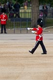 The Major General's Review 2011: The Garrison Sergeant Major, WO1 William Mott OBE, Welsh Guards, marches over the line along the West side of the Parade ground in front of the Guards Memorial where the L-shaped formation of Foot Guards will take up position and measures out the paces between the flankmen who are already in position.. Horse Guards Parade, Westminster, London SW1, Greater London, United Kingdom, on 28 May 2011 at 10:20, image #29