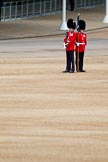 The Major General's Review 2011: Keeper of the Ground from the Scots Guards with the flag marking the position of the guard on the parade ground.. Horse Guards Parade, Westminster, London SW1, Greater London, United Kingdom, on 28 May 2011 at 10:22, image #32
